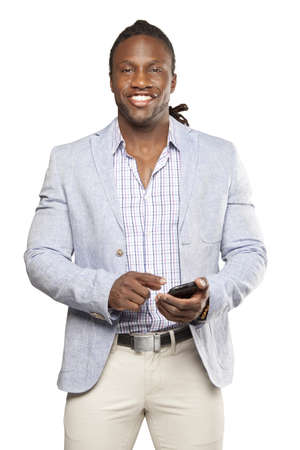 haitian: Black business man in light suit against white background Stock Photo