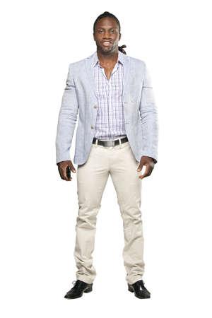 black business man: Homme d'affaires noir dans le proc�s de lumi�re sur fond blanc