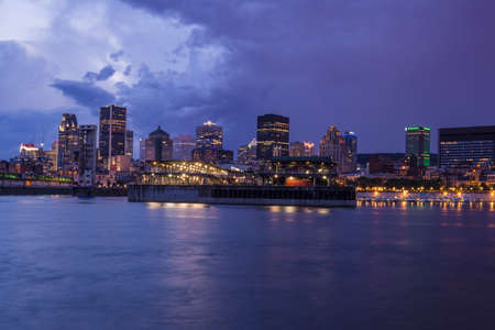City skyline at night, Montreal, quebec, Canada