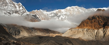 A Panoramic View of Annapurna I from the Annapurna South Glacier