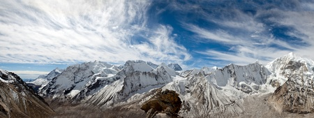 a Panoramic View of the Barun Valley and Baruntse from Makalu Stock Photo