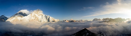 mount everest: A Panoramic View of Everest & Nuptse from Kala Patthar