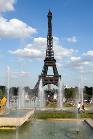 Classic view of the Eiffel Tower in Paris Stock Photo