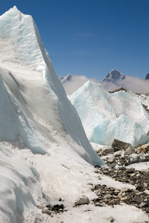 Static waves of ice on the Khumbu Glacier, near the Western Cwm