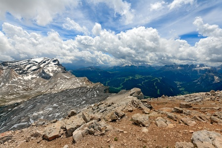 Spectacular skyscape in the Fanes National park in the Dolomites Stock Photo
