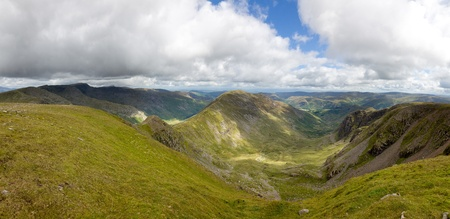 Panoramic view of the Deepdale, Fairfeild Horseshoe, from the summit of Fairfield