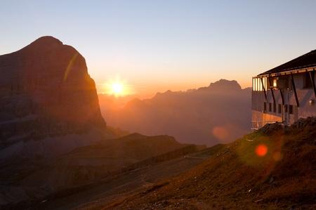 The sunrise from rifugio lagazuoi