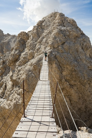 The longest Via Ferrata bridge in the Dolomites on the Cristallo Ridge