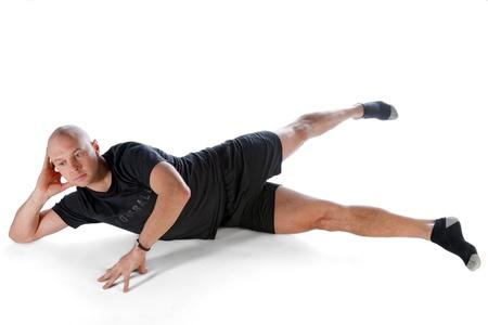 Pilates position - Side Kick Big Scissors Stock Photo