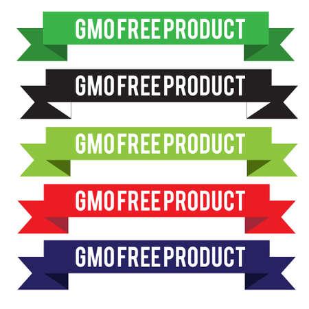 gmo: Gmo free product stickes. Isolated on white background Illustration