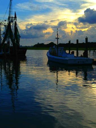 in charleston: Charleston Shrimp Boat at Dawn Stock Photo