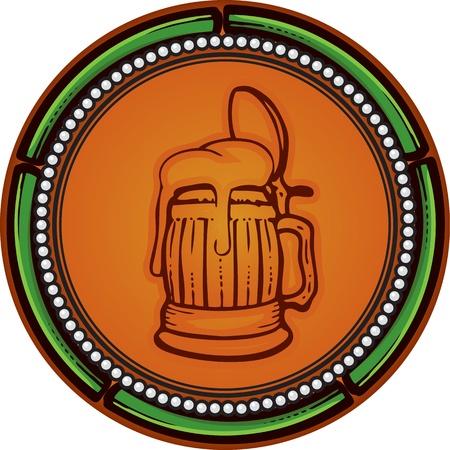 beer old mugs label  Illustration