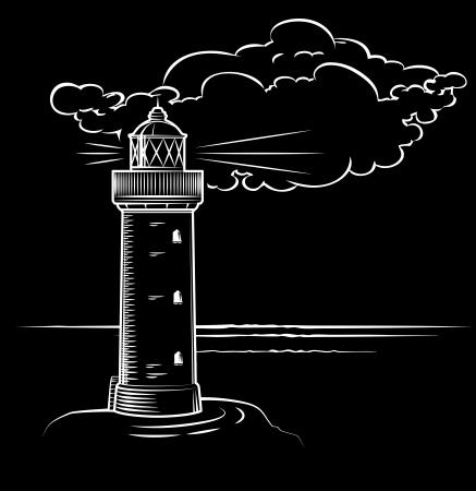 vuurtoren bij nacht met een grote wolk, getrokken Vector Illustratie