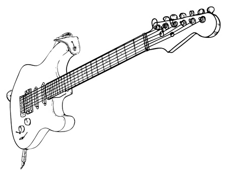 the blues: Electric Guitar - drawn