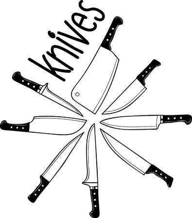 the knife: Cuchillo, Cuchillos de cocina - icono aislado en blanco