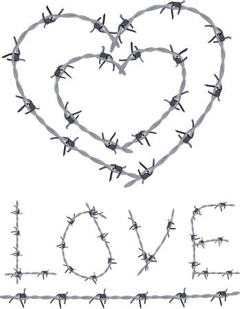 Hart van prikkeldraad, liefde geschreven met prikkeldraad