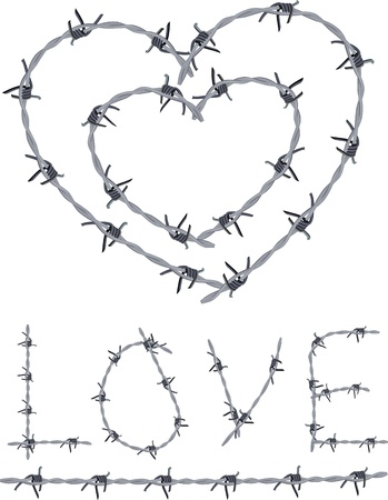 Heart of barbed wire, love written with barbed wire  Illustration
