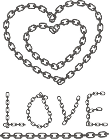 Heart of chain, chain of love  Stock Vector - 17992018