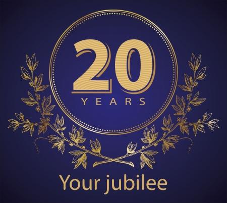 Jubilee, golden laurel wreath 20 years  Illustration