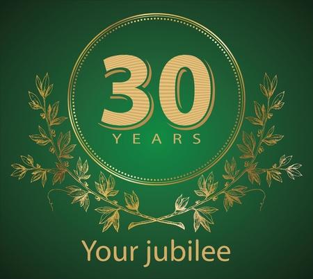 Jubilee, golden laurel wreath 30 years  Illustration