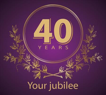 Jubilee, golden laurel wreath 40 years  Illustration