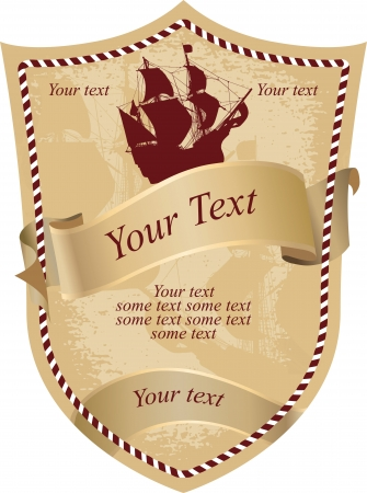 Old drink label with engraving sailing ship Illustration