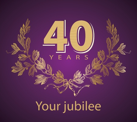 40: Jubilee, golden laurel wreath 40 years  Illustration