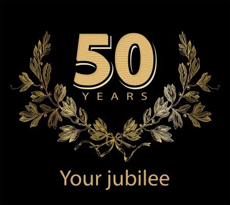 Jubilee, golden laurel wreath 50 years
