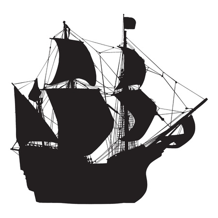 silhouette of old sailing ship  Vector