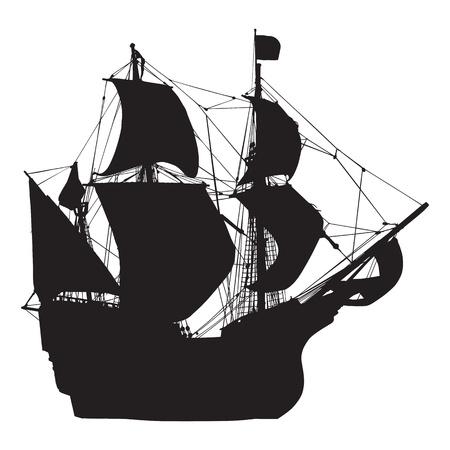 barco pirata: silueta del velero viejo