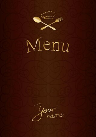 menu with chef hat, spoon and fork  Illustration
