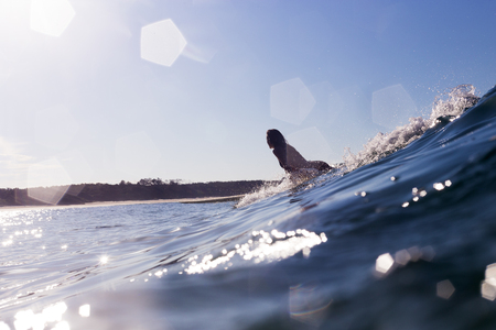 A surfer catching a wave in bright summer light in Australia. 版權商用圖片