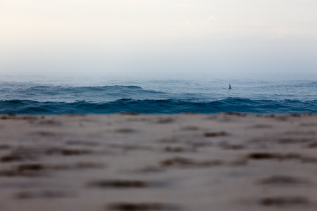 A lone surfer sits waiting for a wave, shrouded in thick sea fog at an empty Australian beach.
