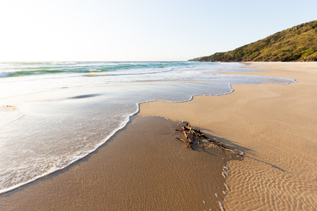 A wave washes driftwood onto a beautiful, remote, pristine beach during a bright sunny, summer morning in Australia.