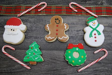 5 Decorated, Iced Chritmas cookies
