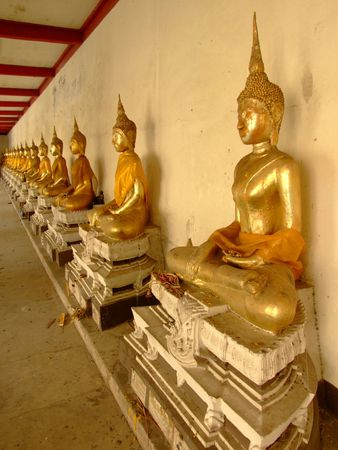Gold Buddha statues, Bangkok, Thailand. photo