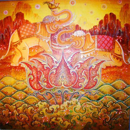 ganesh: Ilustraci�n de elefante hind�, Tailandia.