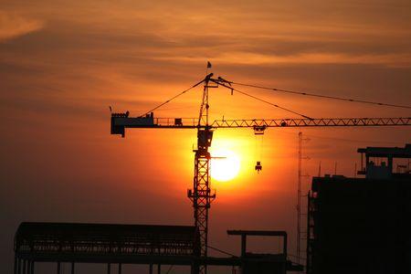Crane at sunset, Thailand. Stock Photo - 7423421