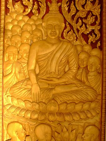 Buddhist temple door, Laos. Stock Photo - 7442327