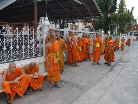 BANGKOK, THAILAND - MAY 27: Thai Buddhist monks outside Wat Don Muang temple May 27, 2005 in Bangkok.  Stock Photo - 7492276