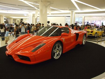 enzo: BANGKOK, THAILAND - JANUARY 8: Ferrari Enzo inside the Siam Paragon shopping center at the grand opening. January 8 2005, Siam center, Bangkok.  Editorial