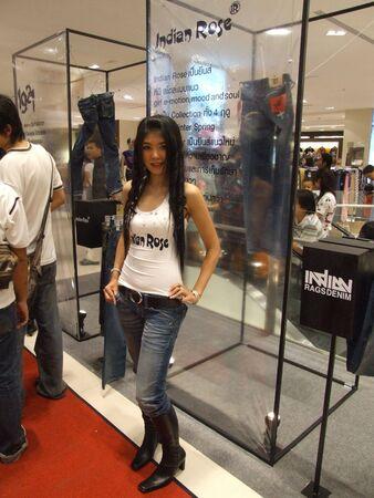 BANGKOK, THAILAND - JANUARY 8: Models pose and advertise brands of jeans at the Siam Paragon shopping center at the grand opening. January 8 2005, Siam center, Bangkok.