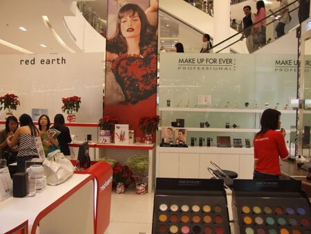 BANGKOK, THAILAND - JANUARY 8: Cosmetics for sale on display at the Siam Paragon shopping center at the grand opening. January 8 2005, Siam center, Bangkok.  Stock Photo - 7492331
