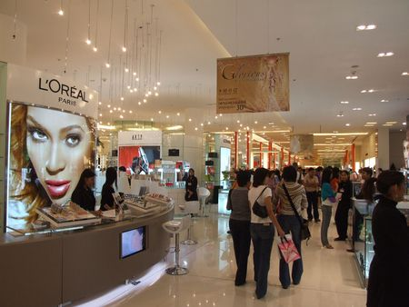 BANGKOK, THAILAND - JANUARY 8: Cosmetics for sale on display at the Siam Paragon shopping center at the grand opening. January 8 2005, Siam center, Bangkok. Stock Photo - 7492352