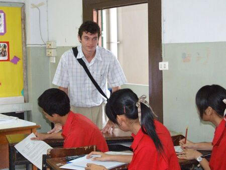 SEEKAN SCHOOL, BANGKOK, THAILAND- MAY 11: Students sit in the classroom learning English. Seekan School, Don Muang in May 11 2005 in Bangkok.