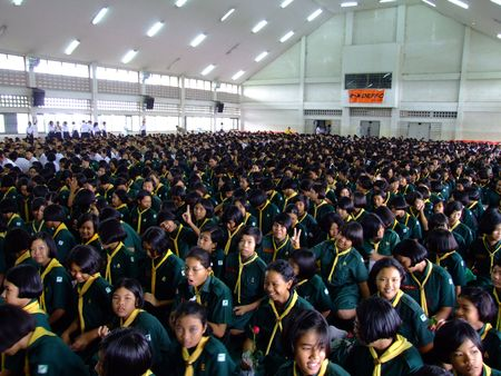 BANGKOK, THAILAND - DECEMBER 21 : Students sit for morning assembly at Seekan school December 21, 2005 in Bangkok.  Stock Photo - 7492458