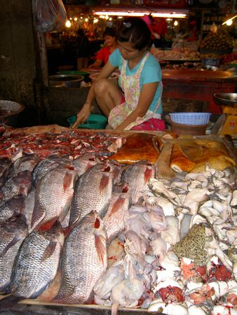 PATTAYA, THAILAND - JUNE 2: Thai woman sells fish in a market on June 2, 2005 in Pattaya.  Stock Photo - 7514755