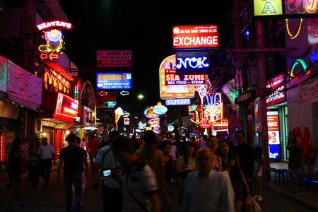 PATTAYA, THAILAND - AUGUST 21: Nightlife on walking street on August 21, 2010 in Pattaya.