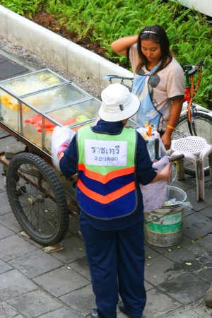BANGKOK- SEPTEMBER 13: Thai people sell food by the road on September 13, 2010 in Bangkok, Thailand.  Stock Photo - 8525962