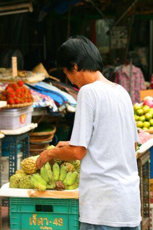 BANGKOK- SEPTEMBER 13: Thai people sell food by the road on September 13, 2010 in Bangkok, Thailand.  Stock Photo - 8525987